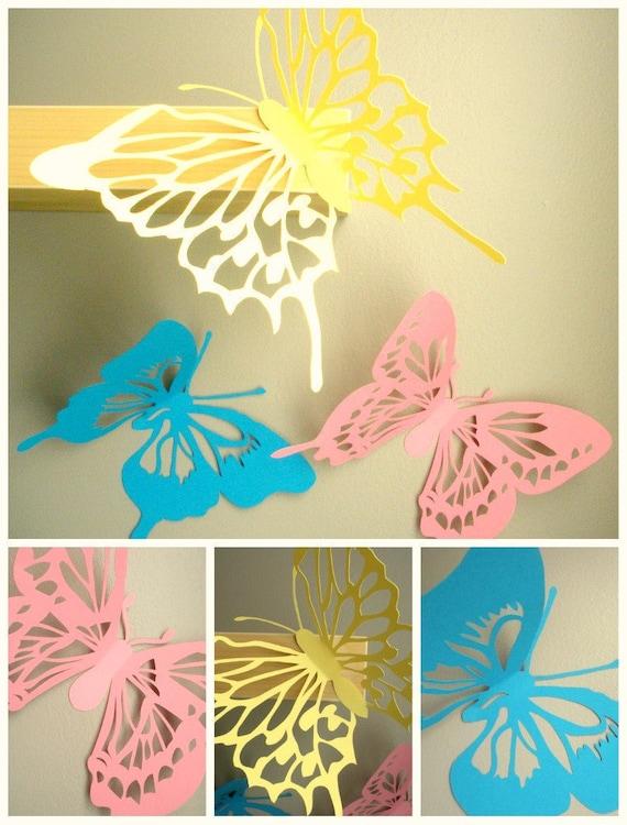 Large 10 Inch 3d Wall Butterflies 3d Wall Art Butterfly Wall