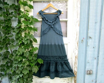 Upcycled Teal Ruffled Day Dress// Drop Waist// Altered Clothing// Medium// Reconstructed Dress// emmevielle