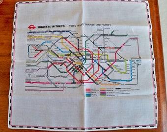 Vintage Handkerchief - Subway Map - Tokyo - Souvenir