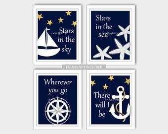 Baby Boy Nursery Art Nautical Nursery Print for Boys Room Nautical Decor Sailboat Print Anchor Print Sailboat Print - Choose Colors - NN1404