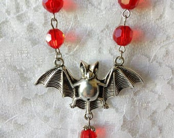 Vampire Bat and Beaded Chain Necklace