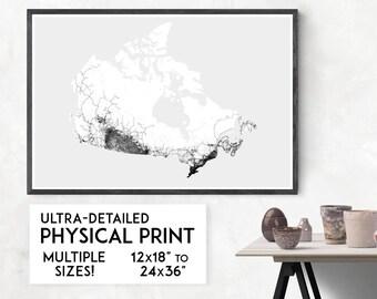 Roads of Canada print   Physical Canada map print, Canada poster, Canada art, Canada map art, Canada wall art, Canada gift, Map of Canada