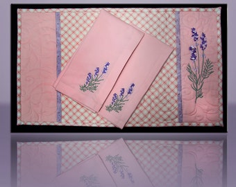 Placemats & Napkins (8 pcs) Embroidered English Lavender Setting for 4 - #507