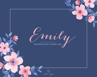 Watercolor Floral Clip Art - Emily - Pink and Navy Blue