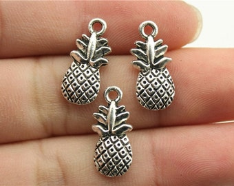 10 Pineapple Charms, 2 Sided, Antique Silver Tone