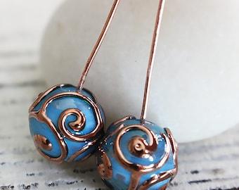 Handmade Glass Beads - Czech Lampwork Beads - Czech Glass Beads - Jewelry Making Supply - 10mm Round - Sky Blue - Choose Amount