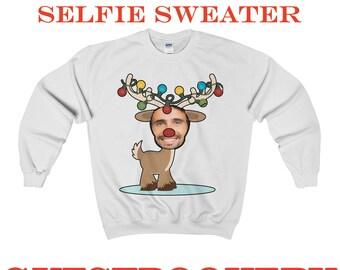 Ugly Christmas Sweater - Selfie Gift - Selfie Christmas Sweater - Custom Christmas Sweater - Funny Christmas Sweater - Reindeer - Custom