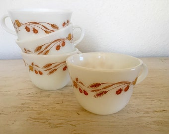 pyrex cups in harvest home pattern corningware usa - milk glass with earthy wheat colors - set of 4