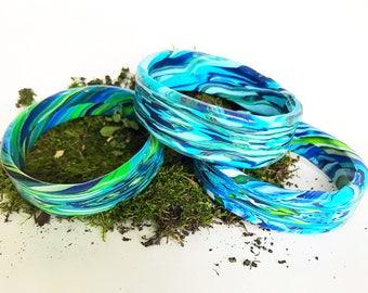 Ocean Vibe Polymer Clay Bangle