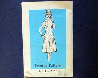 1970s Dress Vintage Pattern, Anne Adams Mail Order 4603, Size 12 1/2, Bust 35