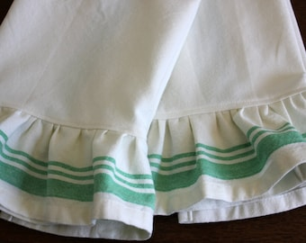 Ruffled Green Striped Tea Towel  - Different Lengths Available