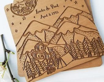 Custom Coaster Set, Personalized Wedding Favor Idea, Custom Coasters, Laser Engraved coasters, Wood Coasters