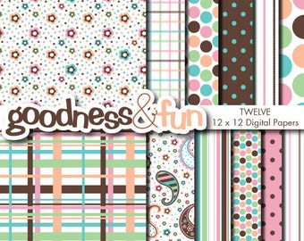 Buy 2, Get 1 FREE - Pretty Paisley Digital Papers - Digital Paisley Paper Pack - Instant Download