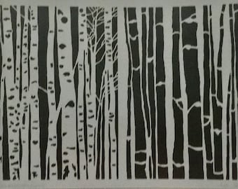 BIRCH TREES Stencil Girl laser cut stencil  9 x 12