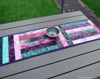 Modern graphic table runner, abstract contemporary table decor. Purple and teal batik table runner / decor. New home, housewarming gift UK