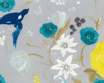 Nani IRO Fabric - Japanese Fabric - Fuccra Rakuen B in Linen - Gray Floral Fabric - Naomi Ito