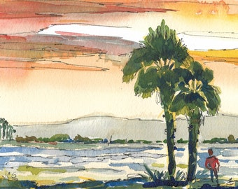 Original Painting Watercolor and Ink California Coast Ocean Art Seascape Sunset Palm Trees Figure
