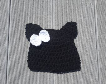 Black cat hat, kitty cat hat, girls hat, baby girl hat, bringing baby home, child kids hat crochet beanie photo prop fast shipping