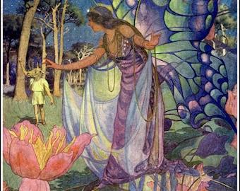Beautiful Lush Midsummer Night's Dream.  VINTAGE  Illustration. Digital DOWNLOAD. Shakespeare. Elizabeth Shippen Green