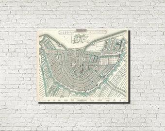 Amsterdam Street Map Old Amsterdam City Atlas Vintage 1835 Century Map Netherlands Bar Den Wall Art Print