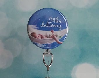 ID Badge Reel Labor and Delivery Nurse  OB Badge Reel Midwife Retractable Badge Reel Obstetrician Id Holder
