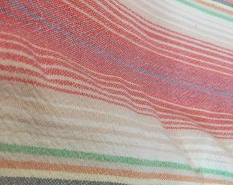 striped retro fabric cotton blend heavy 2+ yards 60' WIDE