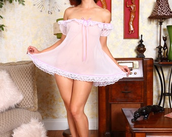 Retro Repro Sheer Pink Baby Doll