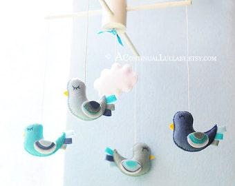 Fancy Birds Baby Mobile, Blue Birds, Cloud Mobile, Baby Mobile Birds, Baby Boy Mobile, Bird and Cloud Nursery, Cloud Baby Shower