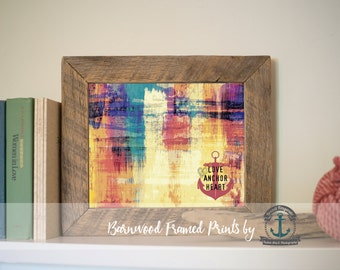 Love Anchor Heart - Reclaimed Barnwood Framed Print - Ready to Hang - Sizes at Dropdown