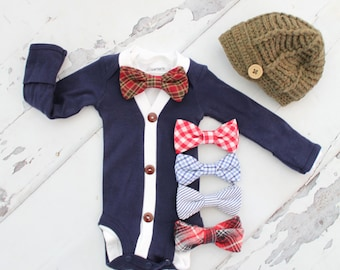 Newborn Baby Boy Coming Home Outfit Set up to 4 Items. Cardigan Bodysuit, Bow Tie Bodysuit, Leg Warmers & Knit Hat. Easter Spring Outfit