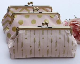 Pink Party Handbag, Bridesmaid Gift, Blush Gold Clutch, Maid of Honor Gift Clutch, Bridal Purse, Wedding gift set - You choose the fabrics