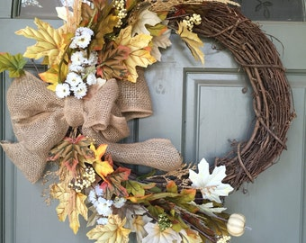 Fall grapevine floral and leaf wreath with burlap bow, year round front door wreath, door wreath, fall wreath