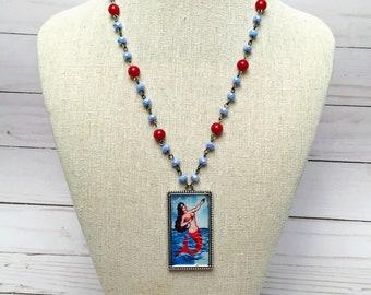 La Loteria la sirena Glass Bead Necklace