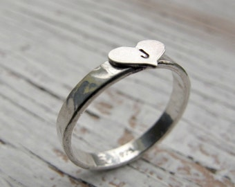 Personalized Ring, Hand Stamped, Initial, Sterling Silver, Heart Ring, Hammered, Mother's Day Gift