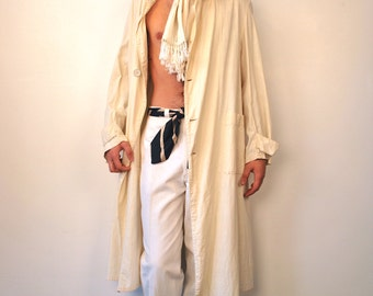 Authentic 1920's Great Gatsby Linen Duster w/ Original Gutta Percha Buttons