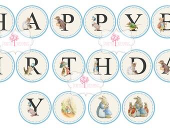 Peter Rabbit printable banner, Happy Birthday Banner, Digital Printable Banner, Peter Rabbit for Boys, Peter Rabbit Boys Party Printables