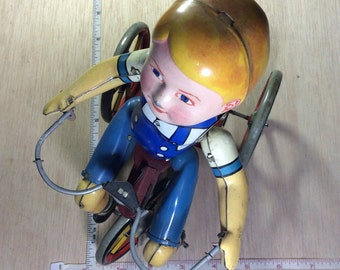 Vintage Old Antique 1930s Unique Art Tin Windup Toy New York Kiddy Cyclist Tricycle Working Condition Used