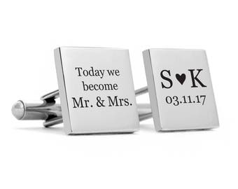 Wedding Groom Cuff links, Stainless steel cufflinks, engraved personalized date