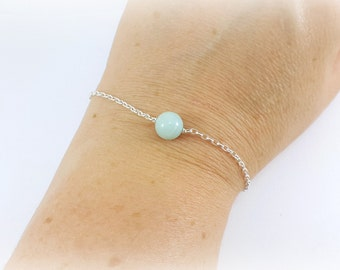 chic and discreet bracelet in sterling silver and genuine amazonite, french jewelry