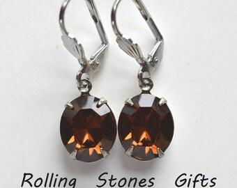 12x10mm Smoked Topaz Swarovski Oval Lever back Rhinestone Earrings-Topaz Crystal Dangle Rhinestone Earrings -Smoked Topaz Dangle Earrings-