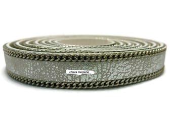 15cm genuine leather 1 cm greyish white + silver chain