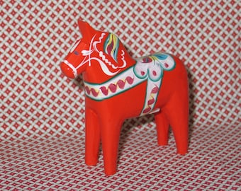 Vintage Swedish Dala Horse / Hand Carved & Painted Wooden Sweden Folk Art / Nils Olssen / Older Horse-Great Patina!
