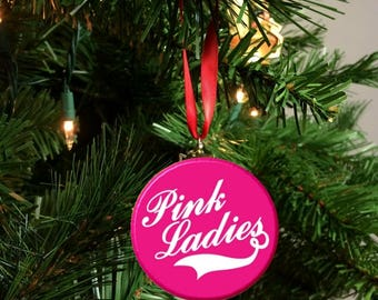 White & Pink Grease  Pink Ladies  Christmas Tree Ornament