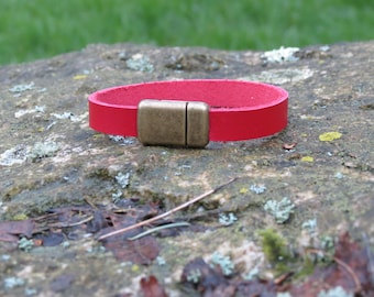 Handcrafted Leather Magnetic Bracelet, True Red