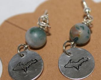 Upper Michigan Dangle Earrings with Semi Precious Stones