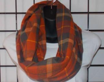 Orange and Grey Infinity scarf/ Plaid Infinity Scarf/ Infinity Scarf/ Plaid Scarf