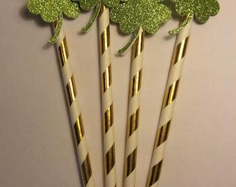 Set of 12 St.Patrick's Day Paper Straws , Clover Paper Straws, Shamrock