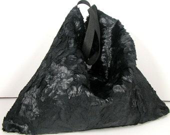 FREE SHIPPING/Sale Black Faux Fur Purse Christmas Gift Fur Shoulder Bag Black Faux Fur Hobo Bag Goth Hobo Bag Hobo Bag Black Steampunk Hobo
