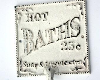 Shabby Cottage Chic Cast Iron Hot Baths Hanger