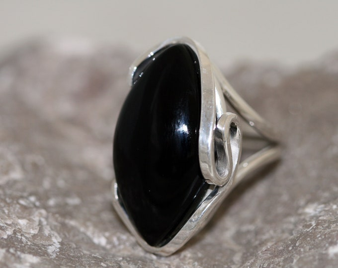 Astounding Deep Black Onyx Ring fitted in Sterling Silver setting. Handmade & Unique.